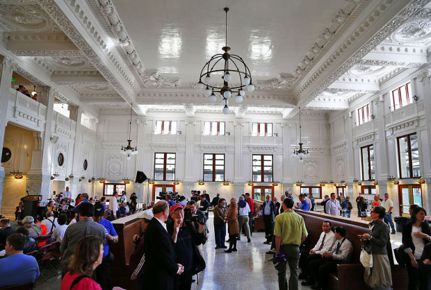 An overall of the interior of the waiting room of the newly-reopened King Street Station in Seattle, on Wednesday, April 24, 2013, in Seattle, Wash.  REOPENING OF KING STREET STATION - 129323 - 042413